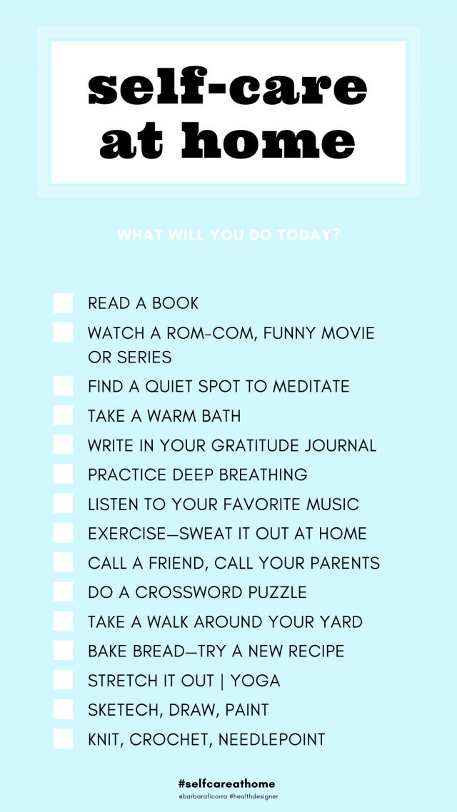 Self-Care At Home Checklist-Every day practice self-care at home for your health and wellbeing